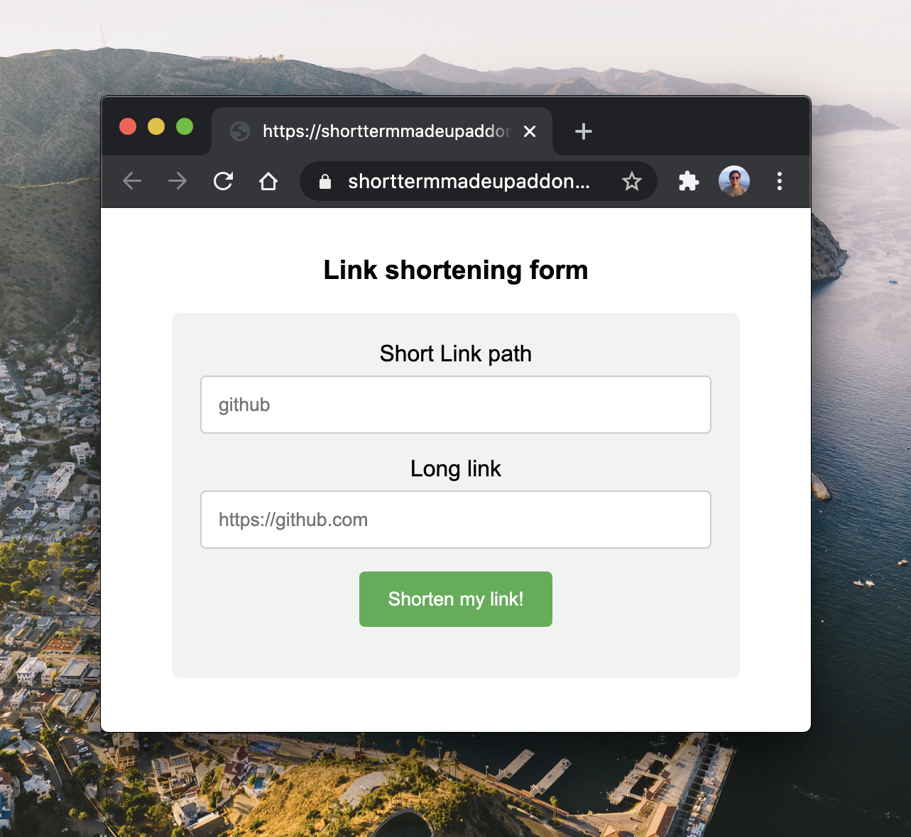 Custom Link Shortener demo